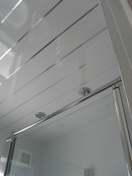 Photo - Contemporary Bathroom (3 of 3) - View of UPVC ceiling with decorative chrome inlay. - Fitted Kitchens and Bathrooms - Home - © J C Joinery