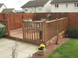 Photo - Garden decking, fencing and landscaping to the rear of a Blakcpool property