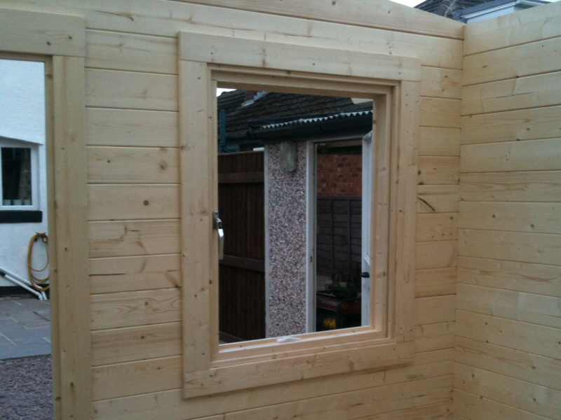 Photo - Outside Office (5 of 7) - The windows to be fitted are double glazed and feature a five point locking mechanism. - Log Cabins - Home - © J C Joinery (NW) Ltd